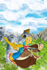 Cartoon scene of a with flying on a broomstick with young girl - in background collapsing medieval tower - beautiful manga girl - illustration for children