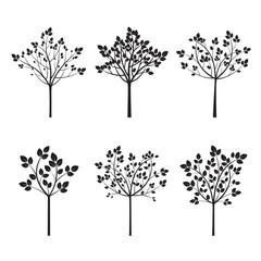 Set Black Trees. Vector Illustration.