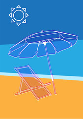 Vector illustration of the beach umbrella and lounger chair on simple background. Art for web and print design appealing for abstract and tourism, beach and  vacation theme.