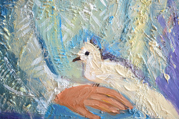 Abstract acrylic painting with white dove on a hand. Pigeon sitting on a palm