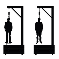 gallows set in black color with man on it illustration