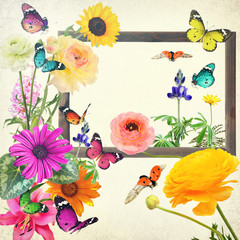 Colorful flowers and butterflies with blank wooden frame (copy space for photo, picture or text). Wildlife and art. Old paper texture background