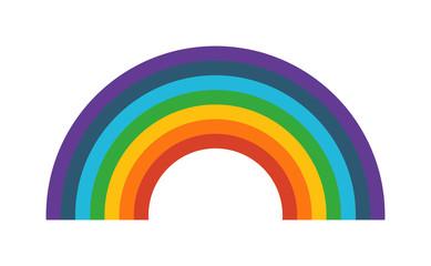 Rainbow vector illustration. Cartoon rainbow isolated on background. Flat rainbow icon. Cartoon rainbow flat style. Vector cartoon rainbow
