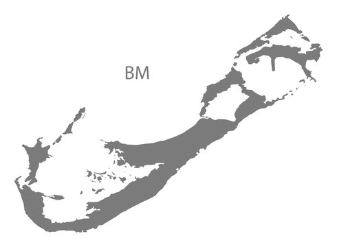 Bermuda Map grey