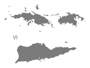 US Virgin Islands Map grey