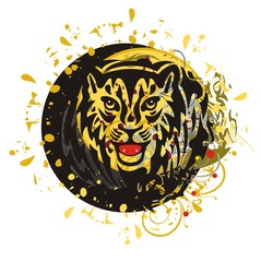 Grunge tiger circle. Tribal young growling tiger head splashes in a circle