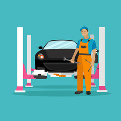 Car repair shop concept vector illustration in flat style. Auto mechanic with equipment and tools. Garage service.