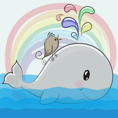 Cute cartoon whale and a bird