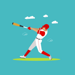 Baseball player with equipment. Sport concept vector illustration in flat style design.