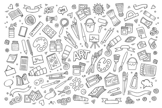 Art and paint materials doodles hand drawn vector symbols