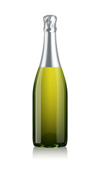 Mock-up Transparent Isolated Realistic Champagne Bottle Vector