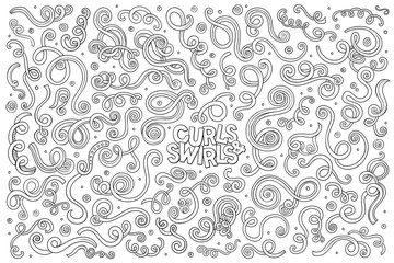 Vector hand drawn Doodle cartoon set of curls and swirls
