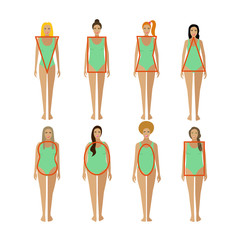Different female body types. Woman figure shapes. Vector illustration in flat style.