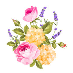 Spring flowers bouquet of color bud garland. Label with rose flowers.
