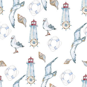 Background travel. Pattern seamless. The lighthouse and the sea. Hand-painted watercolor