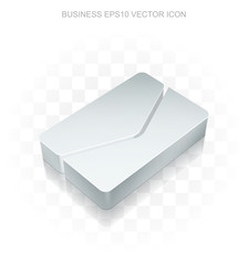 Business icon: Flat metallic 3d Email, transparent shadow, EPS 10 vector.