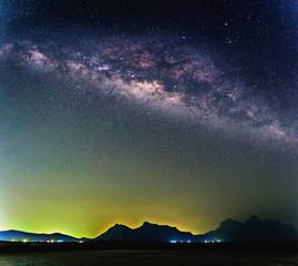Milky way galaxy over mountain, Thailand.