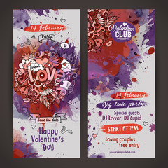 Vector love doodles watercolor paint party flyer