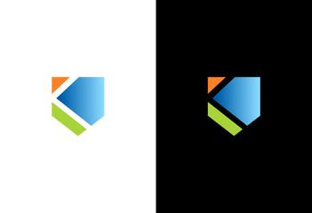 letter k shield colored logo