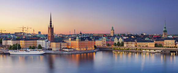 Stockholm.Panoramic image of Stockholm, Sweden during sunset. Wall mural