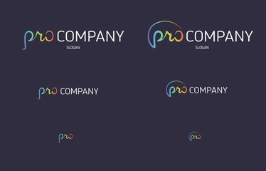 Letter pro color flat logo