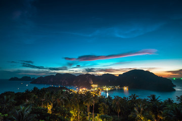 View point of Phi Phi Island at sunset time, Krabi, Thailand