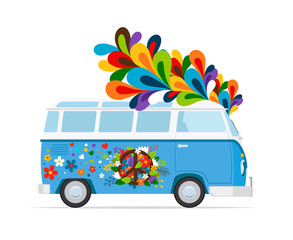 Hippie bus. Vector peace van colored icon on white background