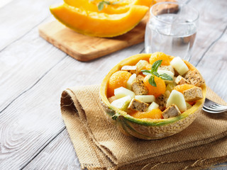 Vegan salad with melon and tofu