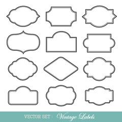 Set of vintage frames isolated on white. Vector illustration.