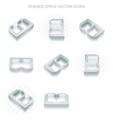 Science icons set: different views of metallic Book, transparent shadow, EPS 10 vector.