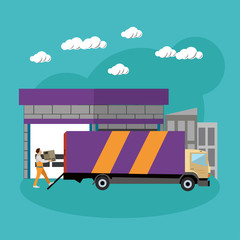 Logistic and delivery service concept banner. Warehouse, truck shipping. Vector illustration in flat style design