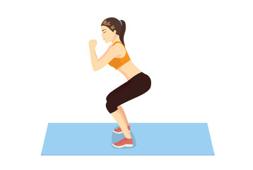 Woman get perfect butt and legs with squat workout on blue mat. Illustration about healthy lifestyle.