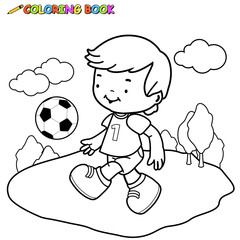 Black and white outline image of a boy playing soccer. Coloring book page.