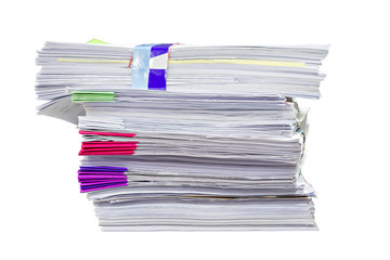Close up of business documents stack on white background