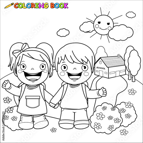Black and white outline image of a girl and a boy students at