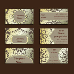 Set of three gilded visiting cards made in oriental style. Vintage designed calling-cards for business with beautiful eastern ornament. Floral art.