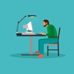 Programmer sit on a chair and working with computer. Coding process concept vector illustration in flat style. Web developer design elements, icons