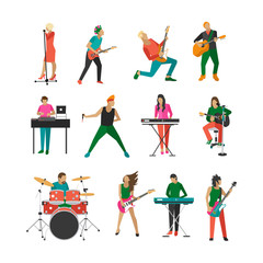 Vector set of rock musicians and singers. Music band design elements, icons isolated on white background. People characters