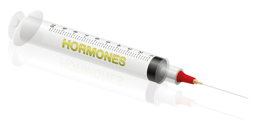 Hormone injection - three-dimensional illustration of a syringe with the word HORMONES on it.