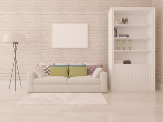 Poster of living room with stylish furniture.