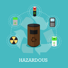 Garbage recycle concept vector illustration in flat style. Hazardous waste recycling poster and icons.