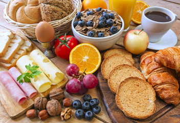 continental breakfast - food on background