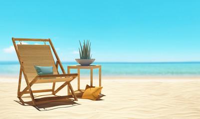 Sedia sdraio su spiaggia con mare relax
