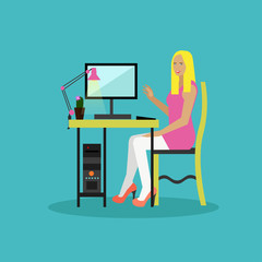 Online shopping concept vector illustration flat style design. Girl surfing internet staying at home