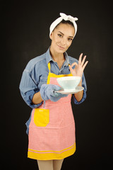 Printed kitchen splashbacks Fairytale World beautiful woman cooking food concept preparing good taste meal