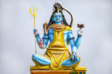 Colored statue of Shiva god. One of the main gods in hinduism.