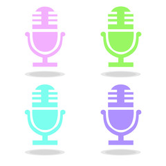 colorful pastel microphone four icon set vector