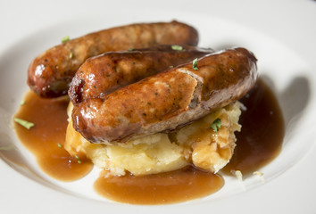 Traditional pub lunch - bangers with mash