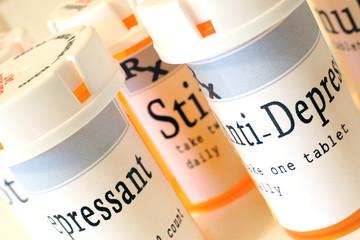 Prescription drugs bottles close up