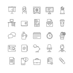office workspace vector icons